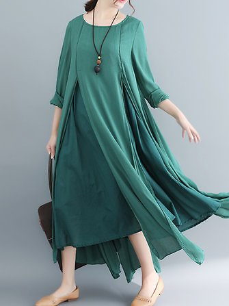 Women Long Sleeve Layered Swing Hem Irregular Dress Dresses from Women's Clothing on Banggood.com