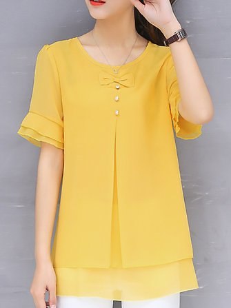 Solid Color Solid Fake Two Pieces Button BlousePlus SizefromWomen's Clothingon Banggood.com