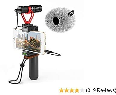 Movo Smartphone Video Rig with Shotgun Microphone, Grip Handle, Wrist Strap for IPhone 5, 5C, 5S, 6, 6S, 7, 8, X, XS, XS Max, Android and Other Smartphones - Perfect for TIK Tok or Vlogging Equipment