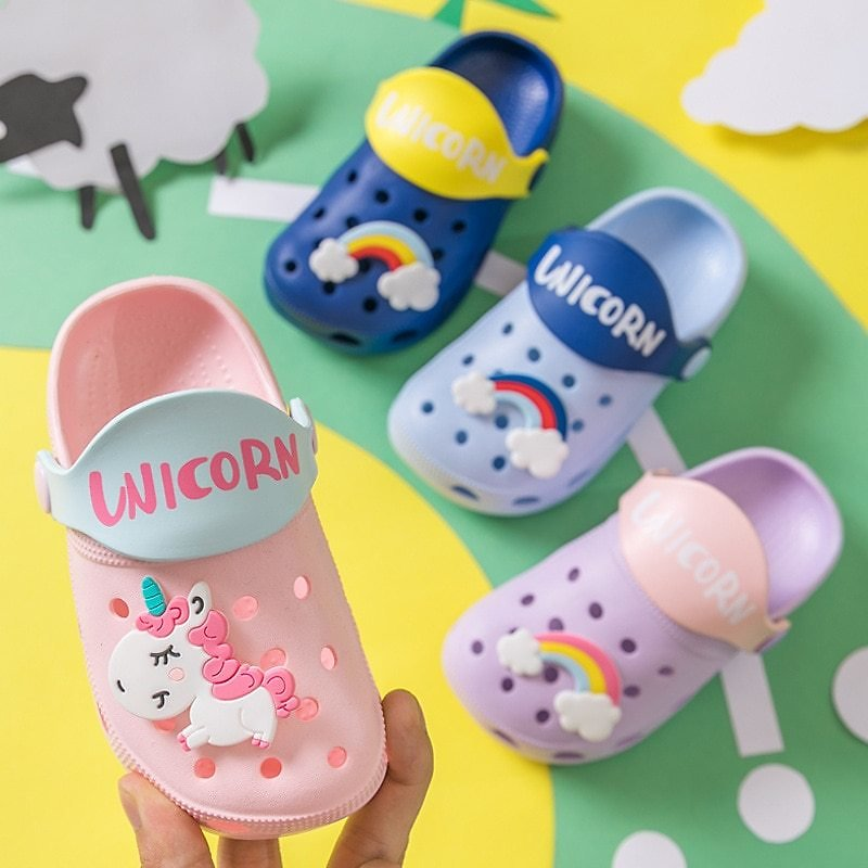 US $5.1 27% OFF|2020 Unicorn Shoes Slippers For Boy Girl Rainbow Shoes Summer Toddler Animal Kids Indoor Baby Slippers Pvc Cartoon Kids Slippers|Slippers| - AliExpress
