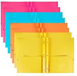 Plastic Folders with Pockets and Prongs 8 Pack