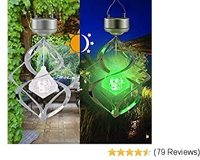 AMWGIMI Solar Lights Outdoor Yard Decoration Wind Chimes Lights Led Colour Changing Spiral Spinner Hanging Lights Garden, Yard, Home Decor Gift