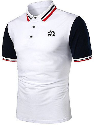 Men's Polo Solid Colored Patchwork Tops Basic White Red / Short Sleeve / Work