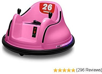 Kidzone DIY Race #00-99 6V Kids Toy Electric Ride On Bumper Car Vehicle Remote Control 360 Spin ASTM-Certified, Pink