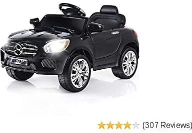 Costzon Kids Ride On Car, 6V RC Parental Remote Control & Foot Pedal Manual Modes, Battery Powered Vehicle W/LED Lights MP3 Functions (Deluxe Black)