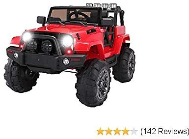 TOBBI Kids Ride On Truck Style 12V Battery Powered Electric Car W/Remote Control Red