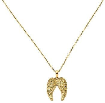14kt Gold Angel Wing Pendant On An 18