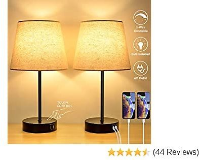 3-Way Touch Control Dimmable Table Lamp with 2 USB Charging Ports&1 Power Outlet, Set of 2 Bedside Nightstand Lamps Fabric Shade, Modern Desk Lamp for Bedroom Living Room Office, E26 LED Bulb Included