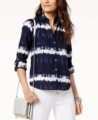 INC International Concepts INC Tie-Dye Button-Up Shirt, Created for Macy's & Reviews - Tops - Women