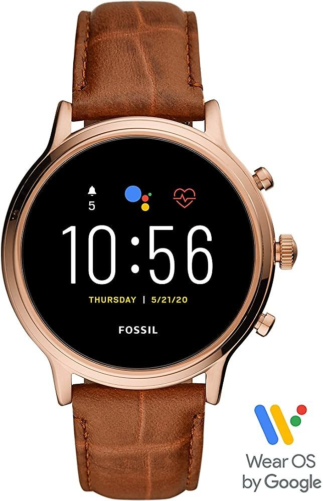 Fossil Gen 5 Julianna Stainless Steel Touchscreen Smartwatch - Brown Leather