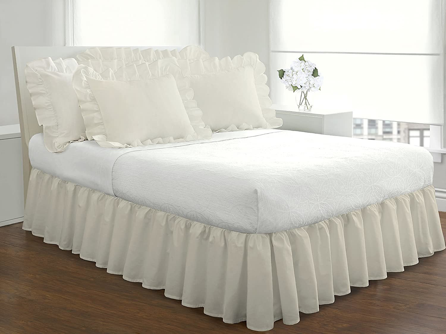 "Fresh Ideas Bedding Ruffled Bedskirt, Classic 14"" Drop Length, Gathered Styling, Queen, Ivory"