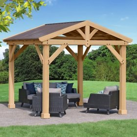 Yardistry 10-ft x 10-ft All Cedar Pavilion with Aluminum Roof