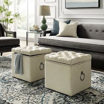Inspired Home Inspired Home Storage Linen Ottoman Nailhead Trim Silver Ring