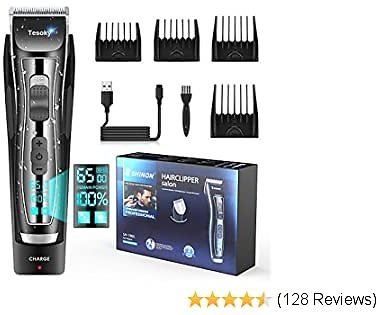 Professional Hair Clipper for Men with LED Screen, Cordless Hair Trimmer Hair Cutting Set, Barber Clippers Beard Trimmer Hair Shaver with Adjustable Size and Speedfor Men and Family Pets