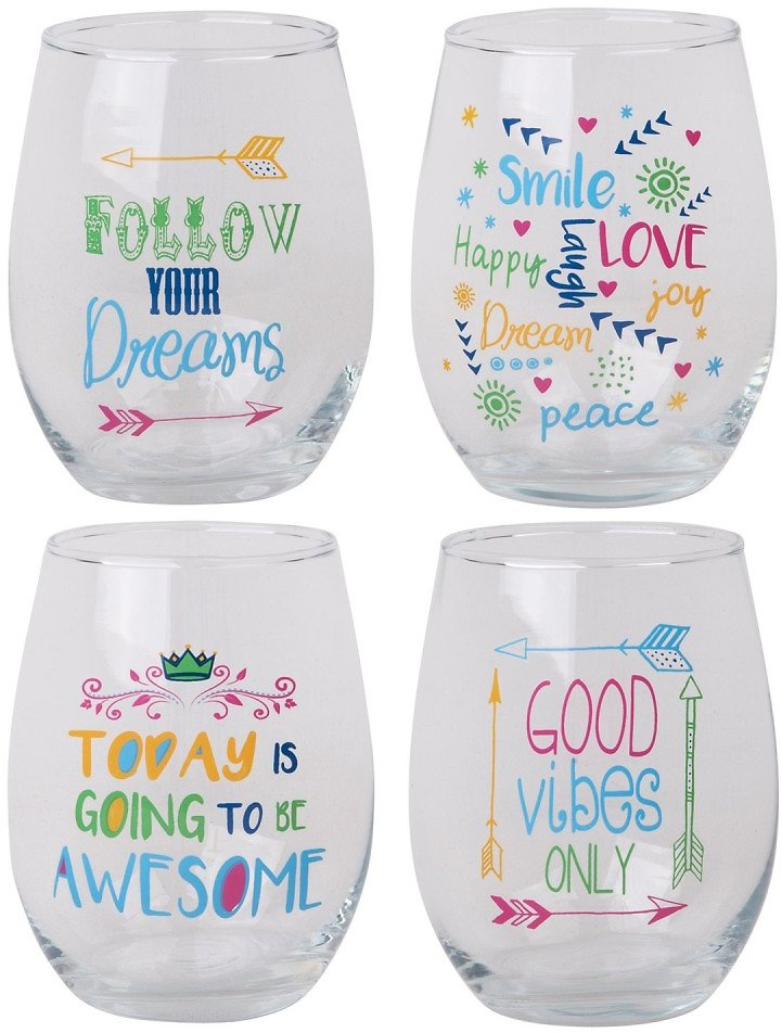 Home Essentials and Beyond | Good Vibes Stemless Wine Glass - Set of 4 | Nordstrom Rack