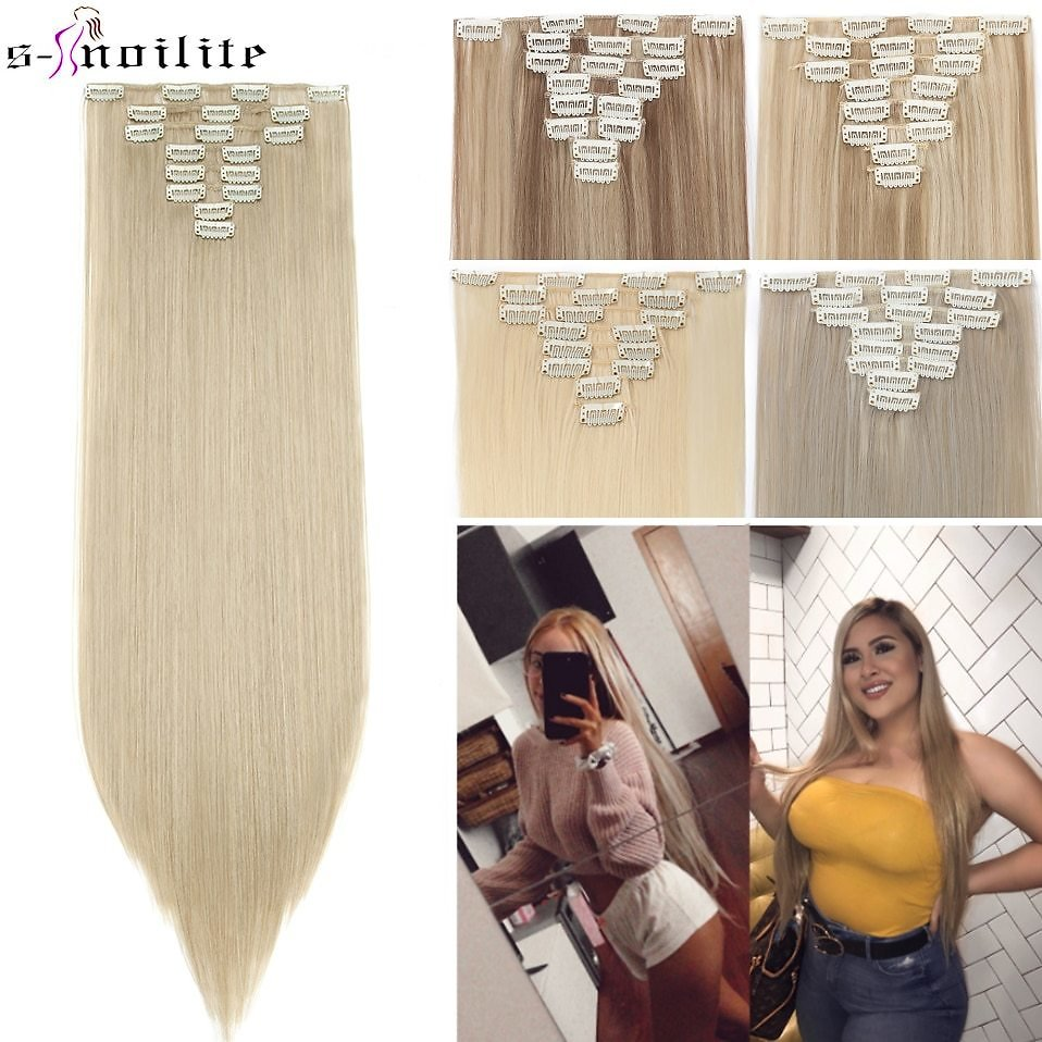 US $7.99 30% OFF|SNOILITE 26inch 8pcs/set Clip in Hair Extensions Straight Natural Hair Clip Ins Synthetic Clip in Hair Extension for Women|Synthetic Clip-in Extensions| - AliExpress