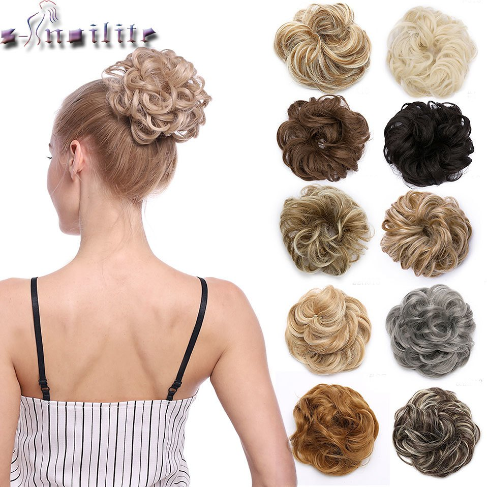 US $2.69 30% OFF|Snoilite 35color Elastic Band Chignon Hair Extension Synthetic Scrunchies Bun Hair Updo Donut Fake Hair Hairpiece for Women|Synthetic Chignon| - AliExpress