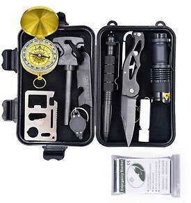 10 in 1 Outdoor Survival Kit First Aid Tool Hiking Camping Rescue Gear Emergency