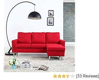 Moderne Livinf Modern Small Space Reversible Linen Fabric Sectional Sofa in Color Light, Dark Grey, Beige, Red