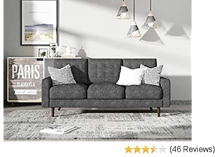 Container Furniture Direct Matte Velvet Mid Century Modern Tufted Living Room Sofa, 71.7