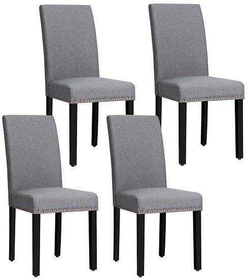 75% Off Fabric Dining Chairs with Nailhead Trim