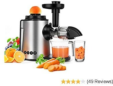 Juicer Slow Masticating Juicer Machine 2 in 1 Citrus Juicers Antioxidant Cold Press Juicer, Mute and Reverse Function Juice Extractor for Fruits and Vegetables with Juice Cup & Brush