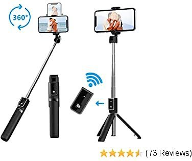 Selfie Stick Tripod, Extendable Selfie Stick with Detachable Wireless Remote and Tripod Stand Selfie Stick for IPhone 11/11 Pro/X/8/7/6s/6,Samsung Galaxy S10/S9/S8/S7/Note 9/8,Huawei and More