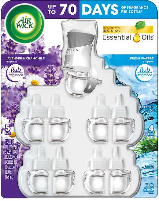Air Wick Scented Oils, Lavender & Chamomile / Fresh Waters, 1 Warmer + 9 Refills