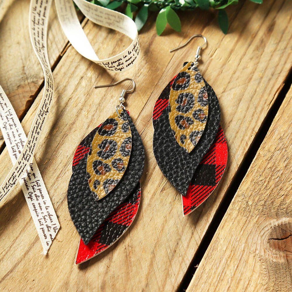50% Off + Coupon | Plaid Leaf Multi-Layered Earrings