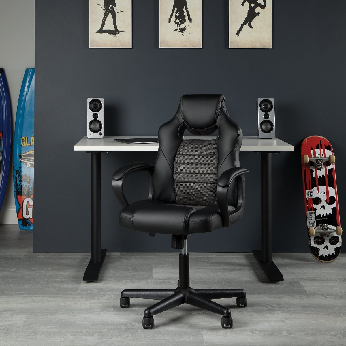 OFM Essentials Collection Racing Style Gaming Chair, in Gray