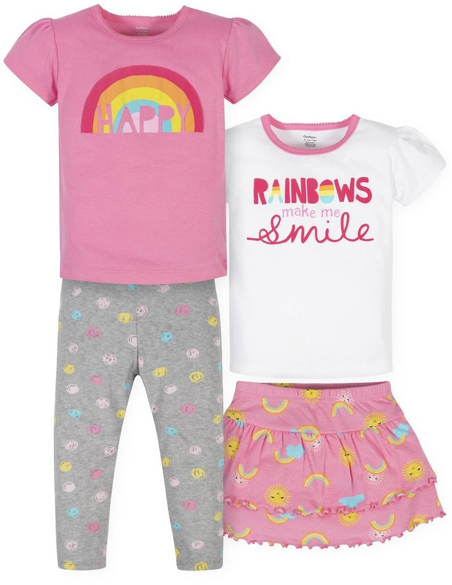 Gerber Baby Girls & Toddler Girls T-Shirts, Skort & Leggings, 4pc Outfit Set (12M-5T)