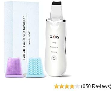 GUGUG Skin Scrubber, Skin Spatula, Blackhead Remover Comedone Extractor, Facial Skin Scrubber, Pore Cleanser & IP6X Waterproof USB Charger, Facial Lifting Tool