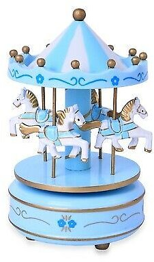 Blue White 4 Horse Wooden Circus Carousel Musical Box Kids Decor Gifts for Dad 191943538993