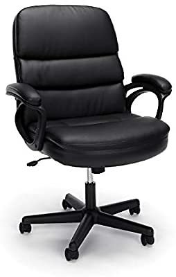 OFM Essentials Collection Bonded Leather Executive Chair with Arms, in Black