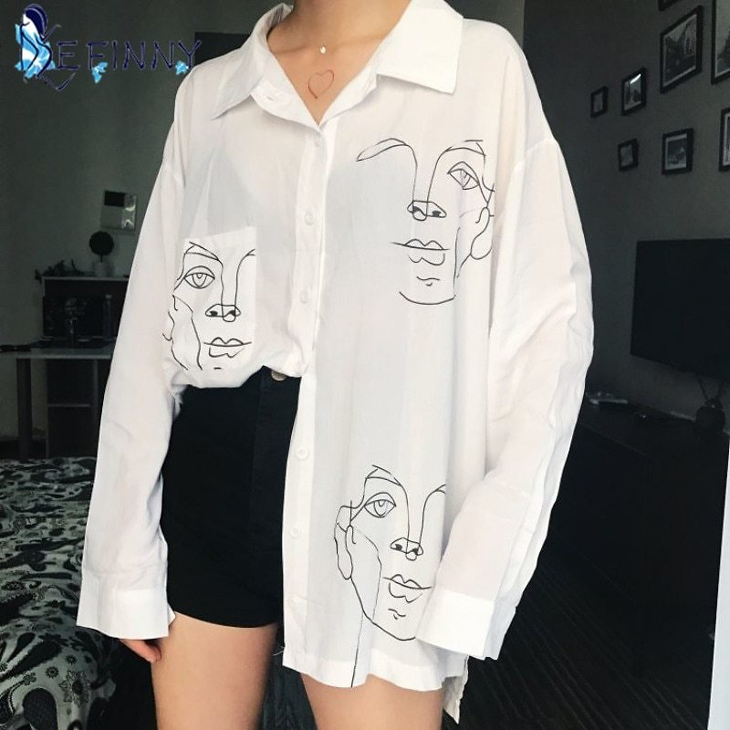US $5.52 36% OFF|2020 New Summer Blouse Shirt Female Cotton Face Printing Full Sleeve Long Shirts Women Tops Ladies Clothing|Blouses & Shirts| - AliExpress
