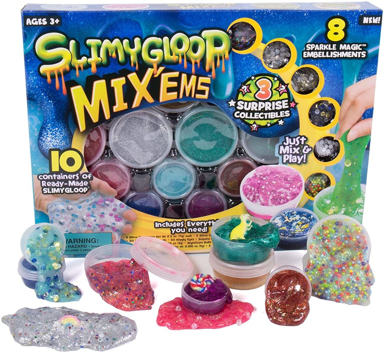 Slimygloop Mix'Ems By Horizon Group USA-Mix & Crea 10 Different Gooey, Putty, Slime with Pompoms, Sequins & 3 Mystery