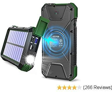 Solar Charger, 20000mAh Solar Power Bank, Qi Wireless Charger for Cell Phone, External Battery Pack for Camping, Outdoor, Portable Charger Flashlight, Compass, Solar Panel Charging By LEO WAY, Green