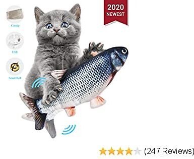 ODOLDI Realistic Plush Simulation Electric Doll Fish, Funny Interactive Pets Chew Bite Supplies for Cat/Kitty/Kitten Fish Flop Cat Toy Catnip Toys - Perfect for Biting, Chewing and Kicking