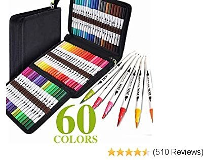 ZSCM Coloring Art Markers Set, 60 Colors Dual Tips Fine Point Water Based Marker Fineliner Pens with Canvas Bag, for Kids Adults Calligraphy Drawing Sketching Bullet Journal Art Back To School Gifts