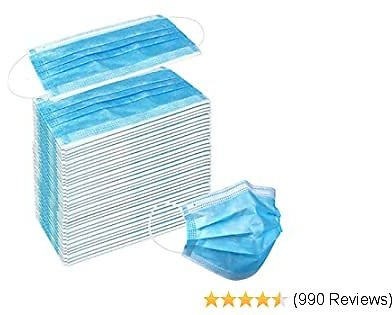 Price Drop * Wecolor 50 Pcs Disposable 3 Ply Earloop Face Masks, Suitable for Home, School, Office and Outdoors (Blue)