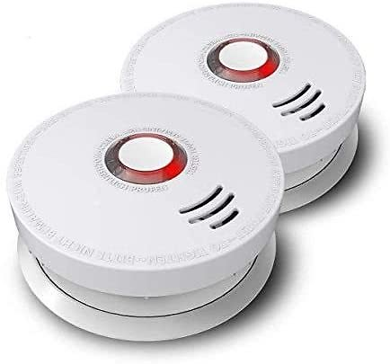 Photoelectric Smoke Alarm, ARDWOLF 2 Pack Fire Alarm with UL Listed GS528A Battery-Powered (9V Battery Included), 10 Years Life
