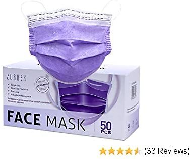 ZUBREX 50 Pcs Disposable 3 Ply Safety Face Mask for Protection - with Nanofiber Filter Lining - and Elastic Earloops (Purple)