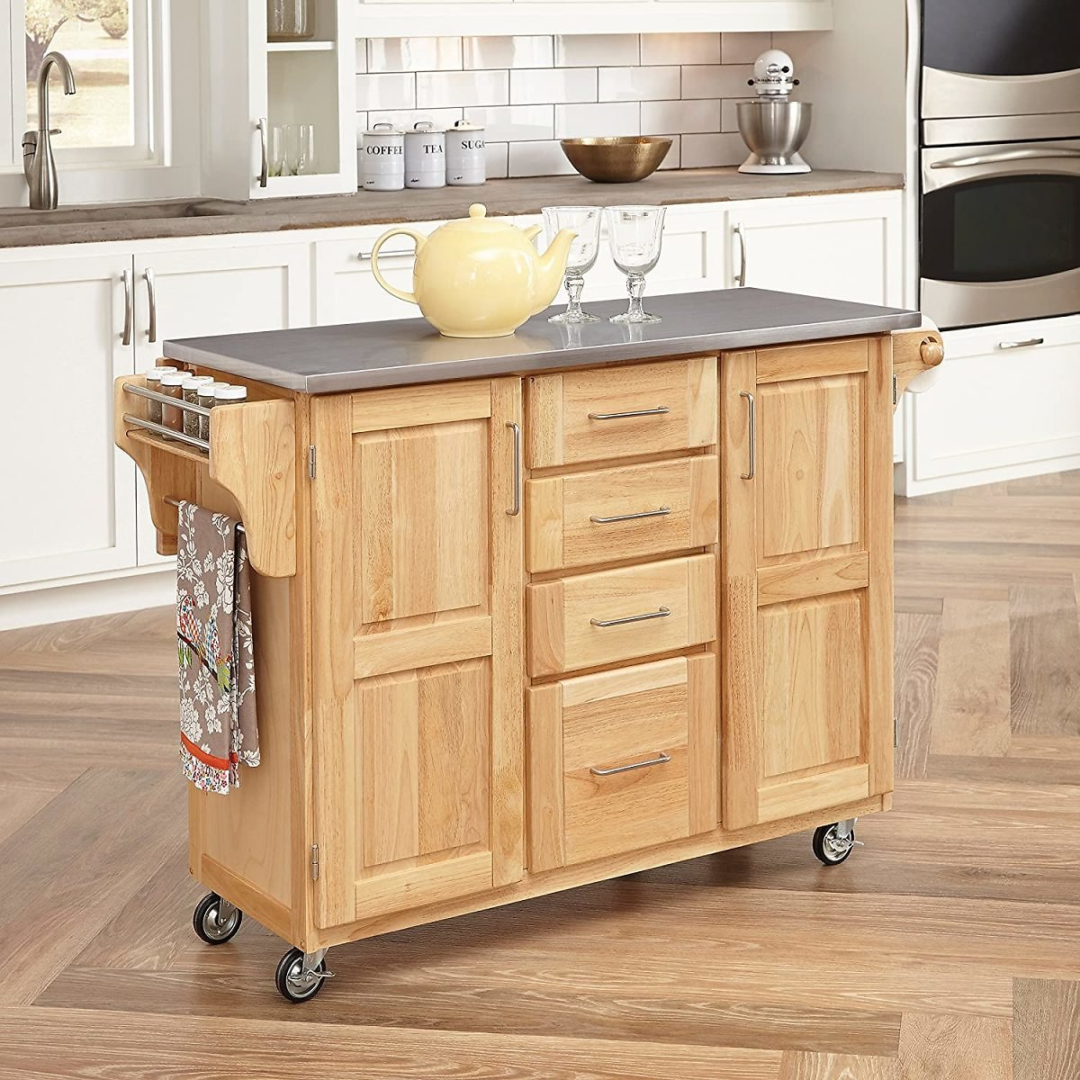 Home Styles Kitchen Cart with Breakfast Bar & Stainless Steel Top By Home Styles