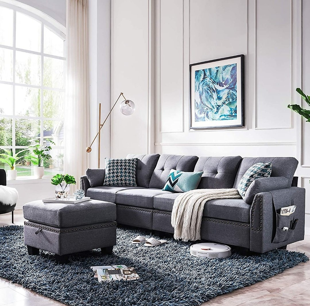 HONBAY Reversible Sectional Sofa Couch 4-seat