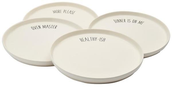 Tabletops Gallery Talk Of The Town 4-Piece Casual Ivory Stoneware Dinnerware Set (Service for 4)-TTU-U6834-EC