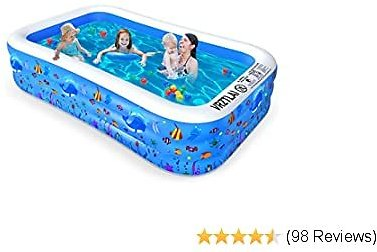 VRZTLAI Inflatable Swimming Pool, Family Lounge Pool Kiddie Pool for Kids, Adult, Infant, Toddlers, Garden, Backyard, Outdoor Summer Water Party, Full Sized 120