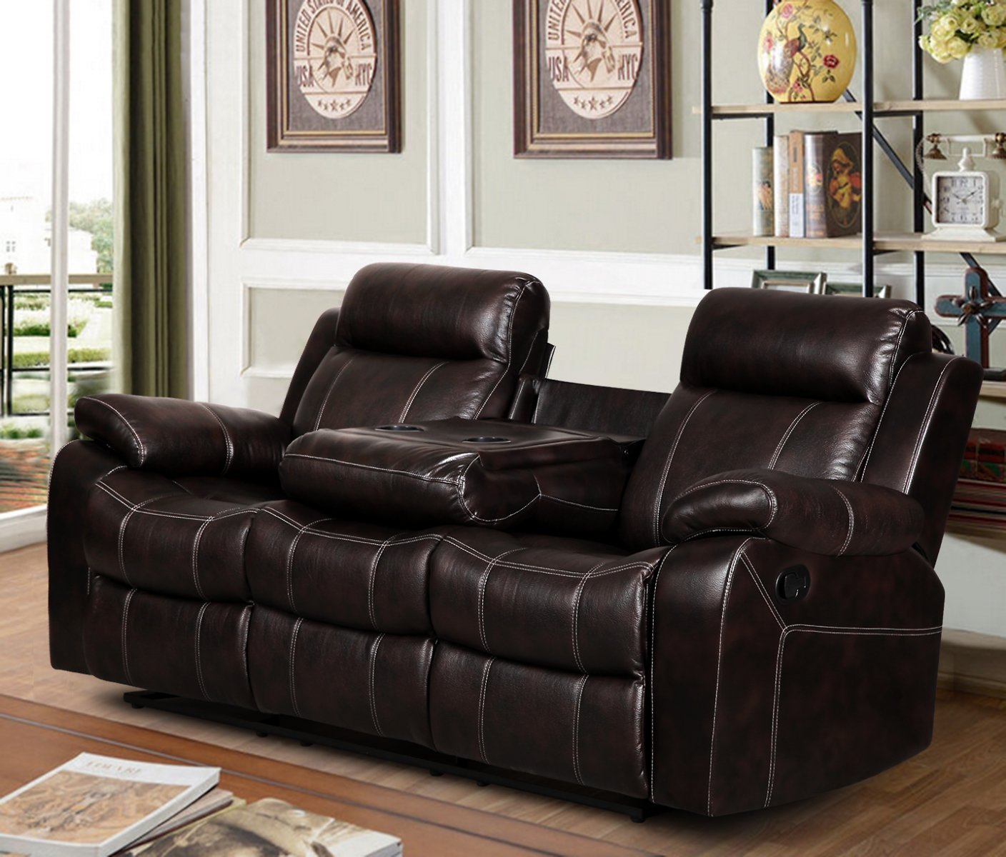 Dark Brown Leather Air Reclining Sofa with Tea Table
