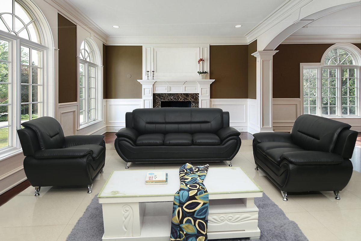 US Pride Furniture Timmy T Faux Leather 3 Piece Living Room Set, Black