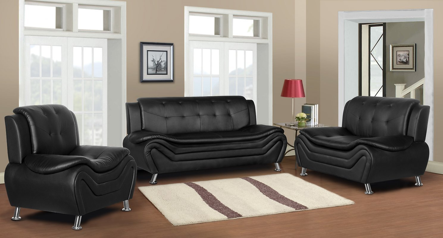 US Pride Furniture Cosmo Arul Tufted Modern 3 Piece Living Room Set - Black