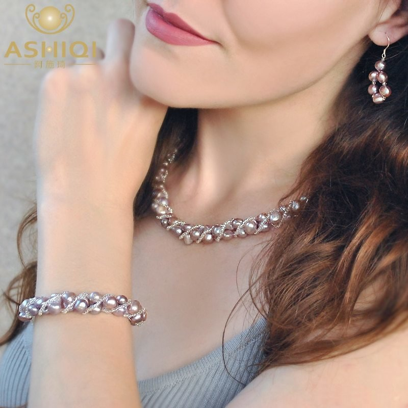 US $10.94 52% OFF|ASHIQI Natural Freshwater Pearl Jewelry Sets & More Hand Knitted Necklace Bracelet Earrings for Women NE+BR+EA|Jewelry Sets| - AliExpress